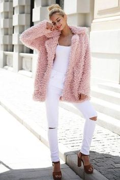 Pink faux fur jacket Material: Faux Fur Sleeve Length(cm): Full Clothing Length: Long Collar: Turn-down Collar Sleeve Style: Regular Style: Thick Warm Fur Pink Faux Fur Coat, Faux Fur Jacket, Moda Streetwear, Streetwear Fashion, Mode Outfits, Trendy Outfits, Fur Fashion, Winter Fashion, Sporty Fashion