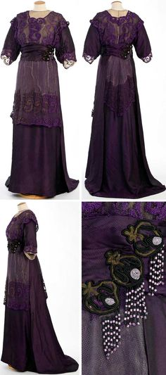 Lilac dress, Barcelona, ca. 1910-12. Silk, cotton, bugle beads, hand embroidery. Textile Museum & Documentation Center of Terrassa (IMATEX)