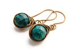 Azurite Copper Earrings Wire Wrapped in Half Herringbone by heversonart, wire wrapped jewelry, rustic earrings, gemstone earrings, copper jewelry, teal gemstone, petite earrings, dangling earrings