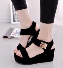 2016 nuevas mujeres acuña las sandalias de plataforma de las mujeres sandalias de moda de verano zapatos de las mujeres zapatos casuales envío libre(China (Mainland))