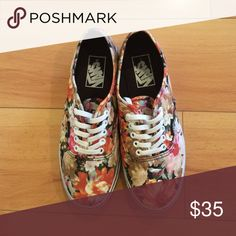 Vans Floral Authentic LoPro Super cute vans that go with just about anything! Women's size 6/Men's size 4.5. Worn twice. In great condition! ✨OPEN TO OFFERS✨ Vans Shoes Sneakers