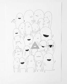 "My Buemann. Pen on paper. Original signed artwork. Title: ""Random People"""