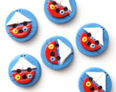 Items similar to Button Ladybugs and Hearts handmade polymer clay buttons ( 8 ) on Etsy