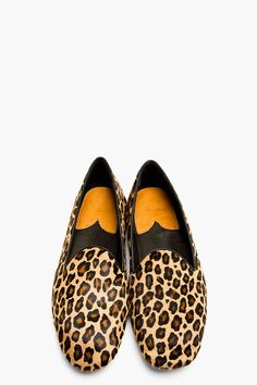 PAUL SMITH Tan Leopard Print Calf-hair Loafers