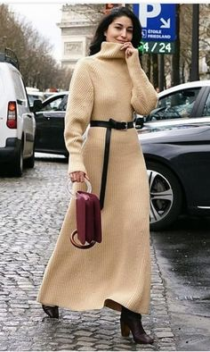 sweater dress with boots, Caroline Issa, Long Sweater Dress, Knit Dress, Sweater Dresses, Mode Outfits, Fashion Outfits, Womens Fashion, Outfits Damen, Mode Hijab, Dress With Boots