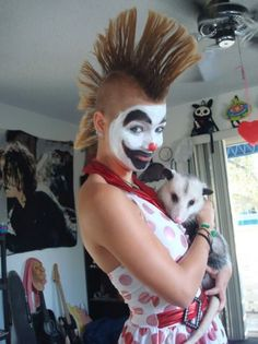 """The original pin said """"Mohawk girl & cat"""". That is NOT a cat and I find it hilarious!!!   Bahahahahaaaaaa!!!"""