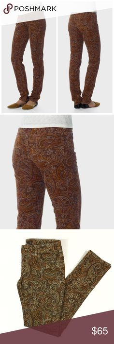 """prAna 'Trinity' Paisley Cord Pant in Dark Ginger Prana Trinity Corduroy in Paisley print. Color is Dark Ginger. Size 8. EUC. Skinny fit. No stains or tears.  • Stretch 18 wale corduroy  • Classic 5 pocket styling • Soft velvet touch • Fitted • Low rise • 98% Organic Cotton / 2% Lycra© Spandex • Imported • Waist: approx. 31"""" • Hips: approx. 35"""" • In-seam: approx. 31 1/2"""" • Rise: approx. 8 1/4"""" Prana Pants Skinny"""