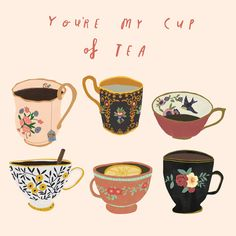 Hand-painted illustration of tea cups. I love the patterns and perspective of each cup. Plus the cute quote! Illustration Inspiration, Illustration Mode, Art Illustrations, Coffee Illustration, Illustration Fashion, Buch Design, Tea Design, My Cup Of Tea, Oeuvre D'art