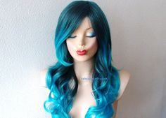 Turquoise Teal Ombre wig. Pastel wig. Long curly by kekeshop