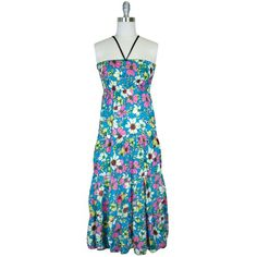 Designer Clothes, Shoes & Bags for Women Halter Maxi Dresses, Floral Maxi Dress, Pink Turquoise, Teal, Blue Maxi, White Maxi, White Dress, Floral Prints, Summer Dresses