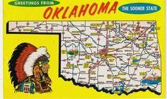 Oklahoma postcard | Vintage Postcards Greetings From Oklahoma State Map Postcard