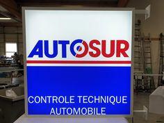 Enseignes lumineuses pour Autosur Controle Technique Automobile, Loire, Lyon, Broadway Shows, Signs, Illuminated Signs, Building Facade, Flag