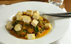 Kichererbseneintopf mit Spinat und Tofu Pasta, Palak Paneer, Tofu, Protein, Curry, Veggies, Meat, Cooking, Ethnic Recipes