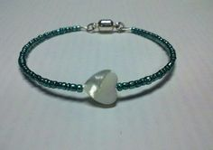 Dark Metallic Teal & White Heart Bracelet by OneSEC on Etsy, $8.95