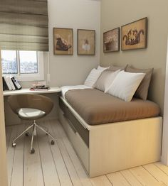 3 Tips How to Decorate Very Small Bedroom Ideas : Appealing Very Small Bedroom Ideas With Day Bed Storage Brown Blanket Pillows Feat Wooden Desk Unique Brown Swivel Chair Books Plus Window Curtain Pictures Also Wooden Floor And Beige Wall