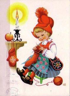 Shop Vintage God Jul Scandinavian Christmas Card created by RetroMagicShop. Norwegian Christmas, Danish Christmas, Old Christmas, Vintage Christmas Cards, Scandinavian Christmas, Vintage Holiday, Christmas Pictures, Christmas Greetings, Christmas Traditions