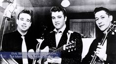 """Bill Black, Elvis and Scotty Moore from a big article on Elvis, covering 2 pages in the Memphis Press - Scimitar : """"Suddenly Singing Star Elvis Presley zooms Into Recording Stardom"""". The date February Scotty Moore, Sam Phillips, Elvis Presley Graceland, Sun Records, Young Elvis, Boogie Woogie, King Of Music, Music Icon, Blue Moon"""
