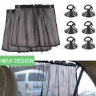 Black Car Interior Sun Shade Side Window Curtain Auto UV Protection Fabric 1Pair