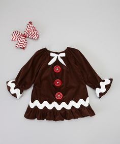 Someone with a baby girl PLEASE get this!! So stinking cute!!  Take a look at this Brown & Red Zigzag Swing Coat & Clip - Infant, Toddler & Girls by Enchanted Couture on #zulily today!