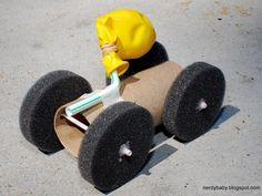 Balloon Race Car. Kids will love this fun project. #crafts http://www.ivillage.com/kids-crafts-make-cardboard-box/6-b-521598#522035