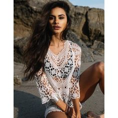 Lace Crochet Bikini Cover Up Swimwear Beach Dress (€19) ❤ liked on Polyvore featuring swimwear, cover-ups, lace beach cover up, lace cover up, crochet swim cover up, crochet beach cover up and lace swim cover up