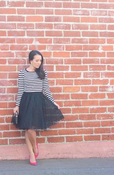 Black polka dot tulle skirt, striped top, clutch and pink pumps // Click link or photo for details: http://www.stylishpetite.com/2014/09/black-polka-dot-tulle-and-stripes.html