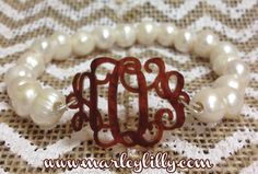 Acrylic Monogram on Freshwater Pearl Bracelet | Bracelets | Marley Lilly
