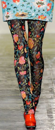 Tights! Gimme /// Mary Katrantzou 2011 Detail v.....Personally, I like for my clothes to MATCH!!!