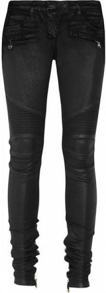 Glossed Low-rise Skinny Motocross Jeans