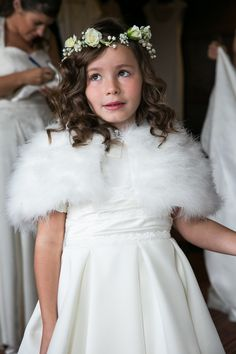 Simple White Flower Girl Gown with Fur Shall and Flower Crown!