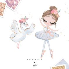 Ballerina Clipart - Girl Birthday Clipart, Ballerina Planner Stickers, Digital Fabric Printing - perfect for POD designs, patterns for paper or fabrics, printing over any surfaces and items. Illustrations, Graphic Illustration, Illustration Children, Ballerina Illustration, Baby Girl Clipart, Birthday Clipart, Ballerina Party, Cute Drawings, Cute Wallpapers