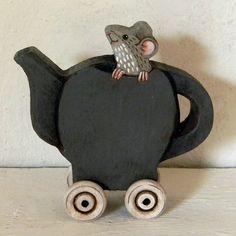 Teapot Mouse Dormouse Contemporary Folk Art by cartbeforethehorse, $40.00