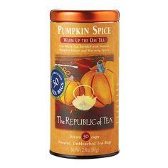 The Republic Of Tea, Pumpkin Spice Seasonal Black Tea, 50 Tea Bag Tin
