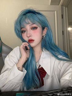 Green Hair, Blue Hair, Up Hairstyles, Pretty Hairstyles, Cute Kawaii Girl, Pretty Hair Color, Pretty Korean Girls, Uzzlang Girl, Hair Reference