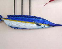Blue Marlin Sport Fish Carved from Queen Palm Seed Pod 45 Inches Long !! Palm Frond