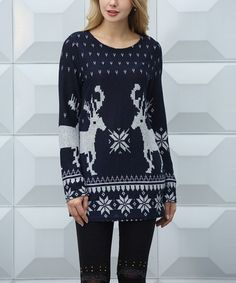 d5f000cbdd Another great find on  zulily! Navy  amp  White Reindeer Nordic Sweater -  Women