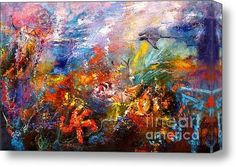 """Just sold 60.00"""" x 40.00"""" print of Life In The Coral Reef Oil Painting by Ginette to a collector from Wimauma, FL"""