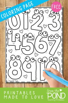 Free numbers to trace or color! Teaching Numbers, Numbers Preschool, Preschool Classroom, Preschool Learning, Teaching Math, Pre K Activities, Kindergarten Activities, Preschool Activities, Preschool Printables