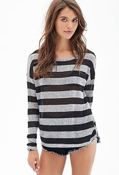 Striped Open-Knit Sweater | FOREVER 21 - 2000119250