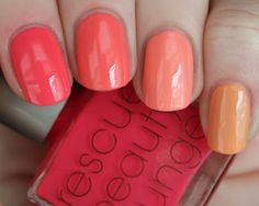Thumb: RBL Coral Pointer: Maybelline Coral Crush Middle: L'Oreal Orange  Ring: Finger Paints Circus Peanuts Pinky: Jessica Cosmetics True Love