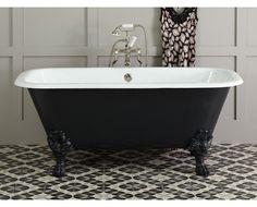 Freistehende Badewanne Gusseisen schwarz