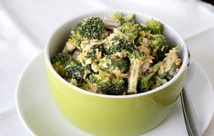 Jun 2012 - Broccoli Salad -this one is made with mayo, red wine vinegar and sugar dressing. Veggie Recipes, Great Recipes, Salad Recipes, Favorite Recipes, Broccoli Salad, Soup And Salad, Veggies, Healthy Eating, Meals