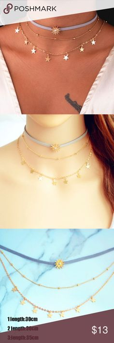 NEW Set of 3 Chokers w/ Sun and Stars Brand new in package! Cute set of 3 chokers featuring a lavender suede choker with a gold sun charm, a dainty gold choker with stars, and a simple dainty gold choker. Jewelry Necklaces