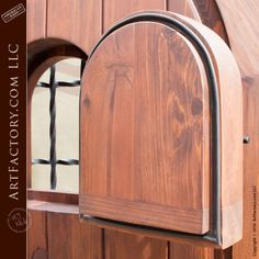 Our hand built custom door entrance Arched Wooden Door with Door Viewer captures the fortified medieval look with modern appeal. Always affordable and made ... & Iron Door Viewer
