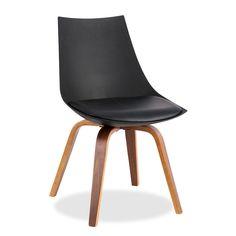 Sedia di design moderno per sale da pranzo o saloni.     Sedile con cuscino foderato in PU.     Gambe in legno di faggio naturale.     Disponibile di colore bianco o nero.