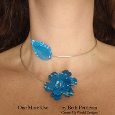 Flower Vine Necklace Choker: upcycled recycled by OneMoreUse