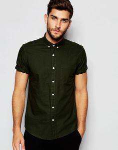 Image 1 ofASOS Oxford Shirt In Khaki In Regular Fit