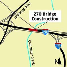 MoDOT starts work on Coldwater Creek bridges Lindbergh, Coldwater Creek, Bridges, Map, Location Map, Maps
