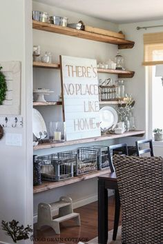 Styled Dining Room Open Shelving by The Wood Grain Cottage