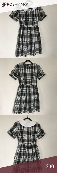 Mod Dolly Plaid Mini Dress with Attachable collar Worn twice for the photoshoots. It's still good condition.   Just want to let you know that I have 2 cats at my place, I always try to do my best to clean the product up before shipping, but there is still little possibility that some hair comes with it. mod dolly Dresses Mini